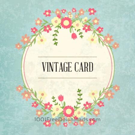 Free Floral frame, vintage card