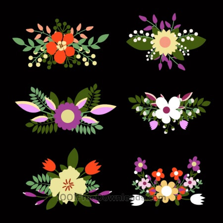 Free Cute floral bouquets, retro flowers