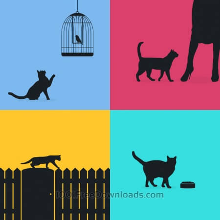 Free Cats silhouette retro posters