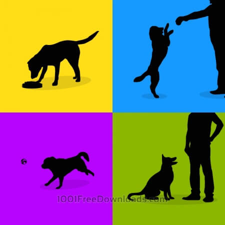 Free Dogs silhouette retro posters