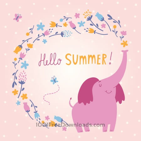 Free Hello Summer vector card with cute elephant