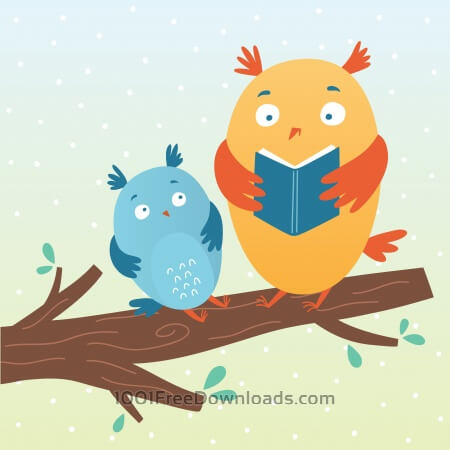 Free Vector illustration of cute owls reading a book