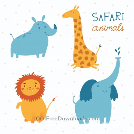 Free Safari animals vector set