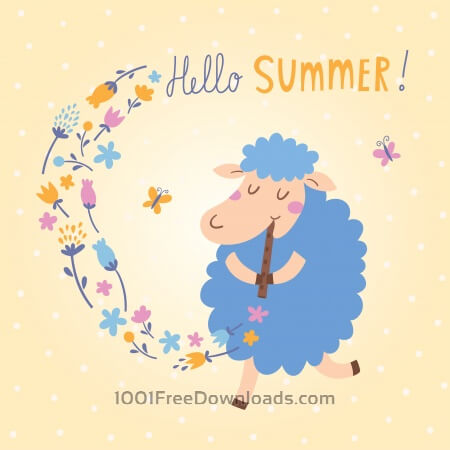 Free Vector illustration of cute sheep. Hello Summer!