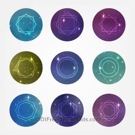 Starry circles set with Hipster Style Icons for Logo Design