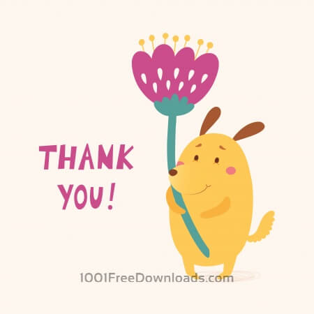 Free Thank you vector card with cute dog