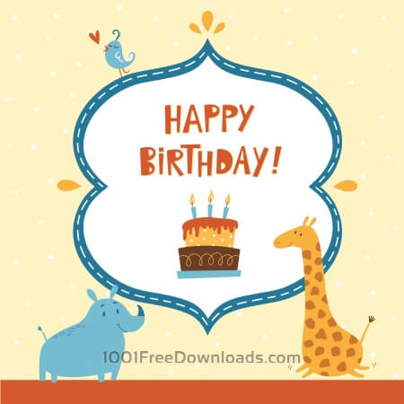 Free Happy Birthday card with cute animals
