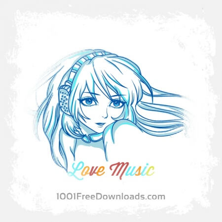 Free Music illustration with woman