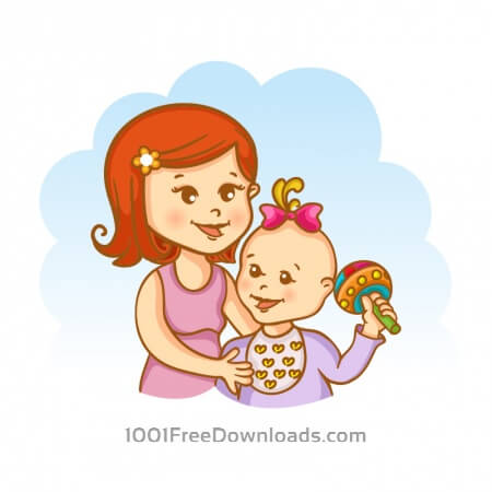 Free Mother and child vector illustration