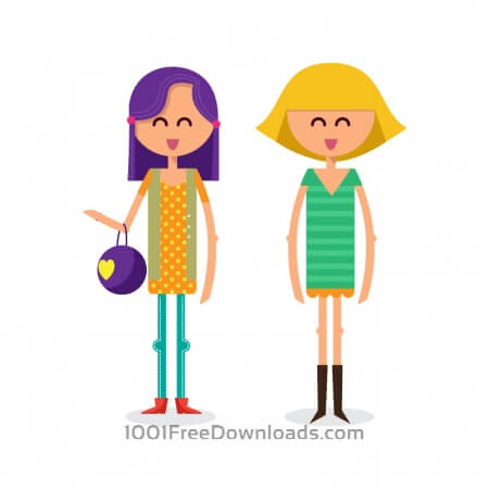 Free Girls shopping vector illustration