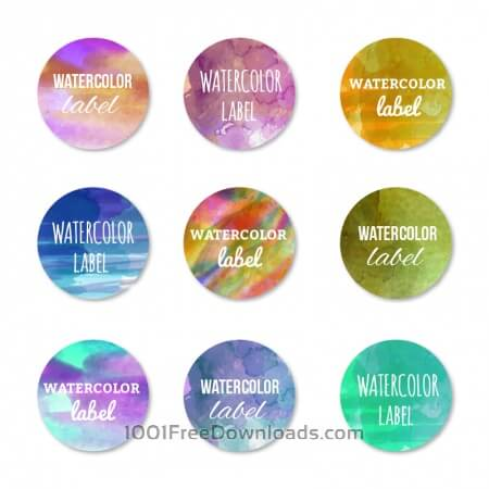 Free Watercolor set of labels