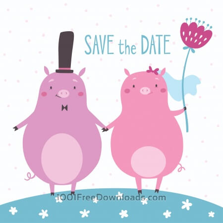 Free Save the date vector card with cute pigs