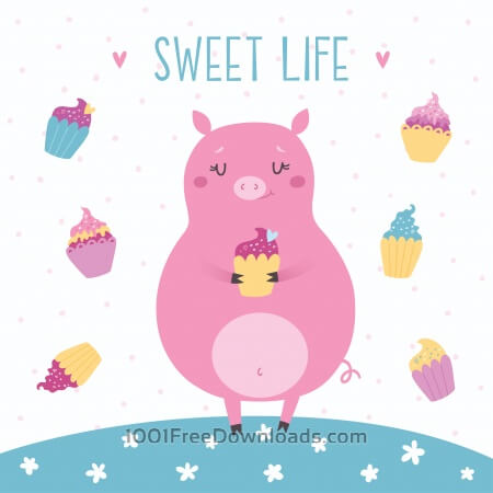Free Vector illustration of cute pig with cupcakes. Sweet life