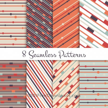 Free Retro lines seamless patterns set