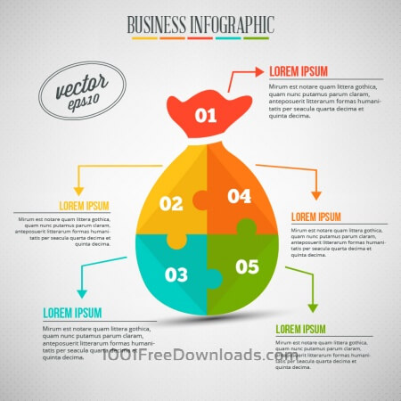 Free Business infographic, puzzle of a money bag