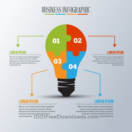 Free Infographic template with light bulb puzzle