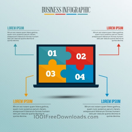 Free Infographic template with puzzle style laptop