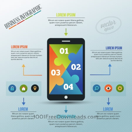 Free Infographic template with puzzle style phone