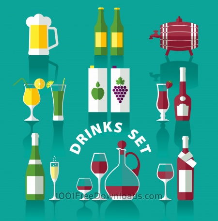 Drink icons of flat style