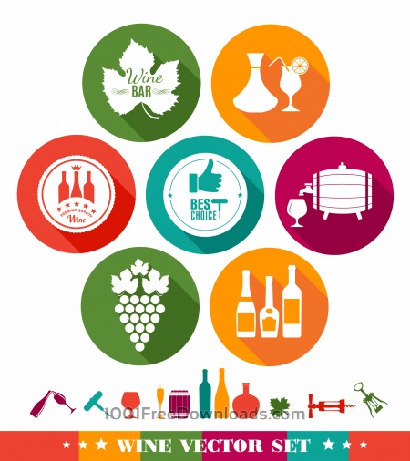Free Drink illustration of wine. Color flat icons.