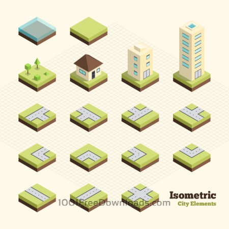 Free Isometric City Elements