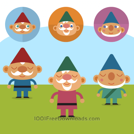 Free Cute Gnomes on lawn vector set