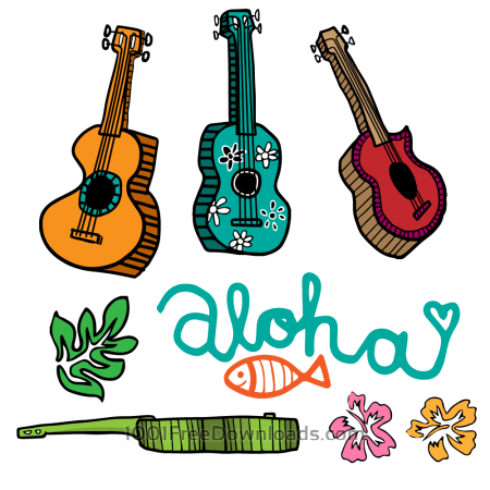 Free Colorful Cartoon Ukulele Vectors
