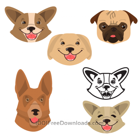 Free Cute smiling happy dogs vector set