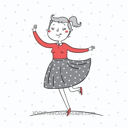 Illustration of a girl dancing