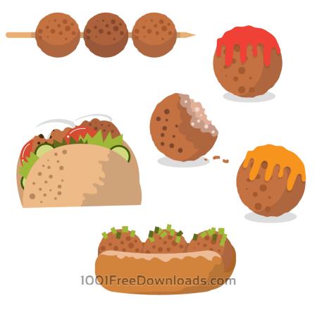 Free Tasty meatball vectors
