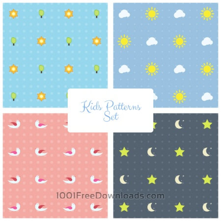 Free Kids Vector Patterns Set