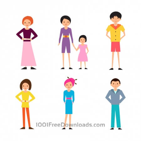 Free Cartoon People Vectors Set