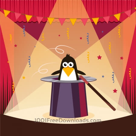 Free Cute penguin on the stage