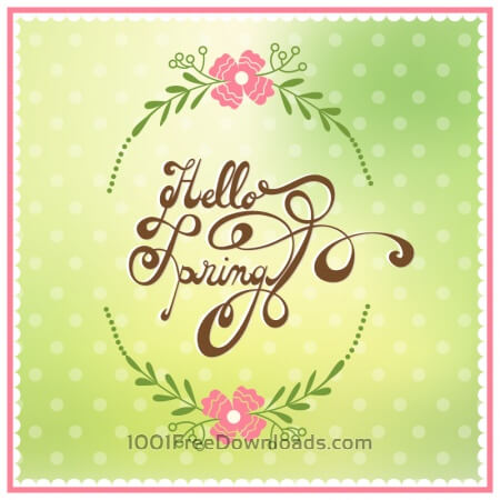 Free Spring illustration with floral frame