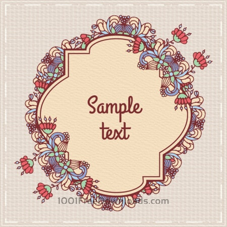 Free Doodle floral illustration with frame