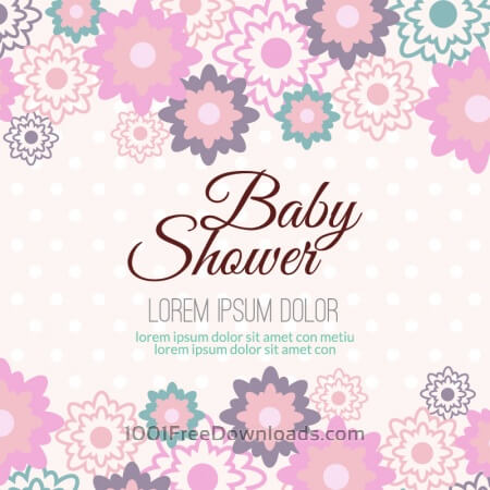 Free Baby shower with floral background