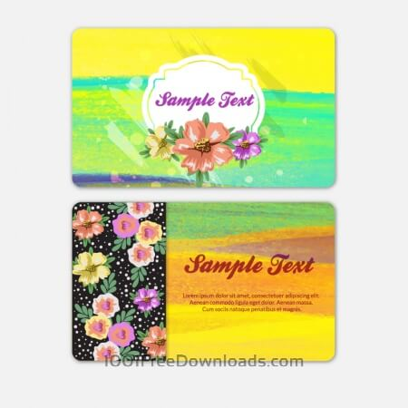 Free Watercolor cover with flowers