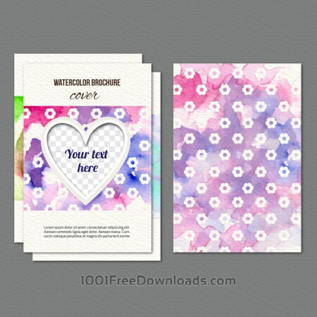 Free Watercolor cover with flowers and heart