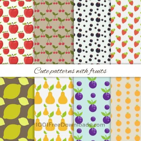 Free Set of cute patterns with fruits