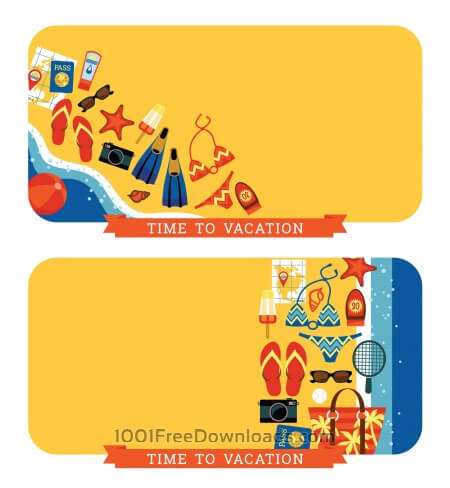 Free Vector modern flat design illustration of traditional summer vacation.