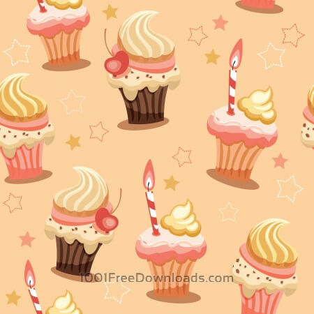 Free Sweet seamless background with cakes