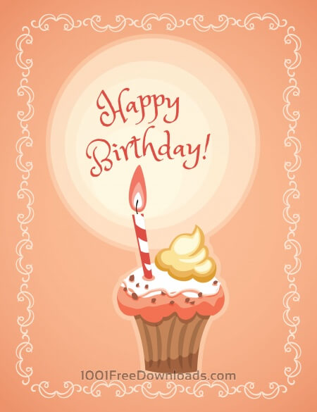 Free Happy Birthday illustration with cakes
