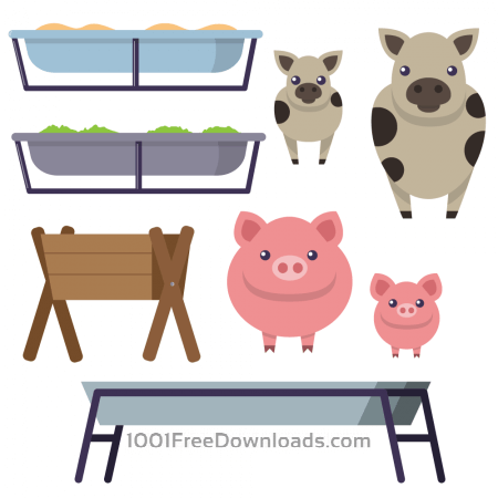 Free Feeding trough with cows and pigs
