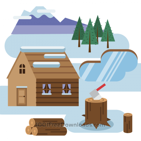 Free Log cabin in snowy landscape