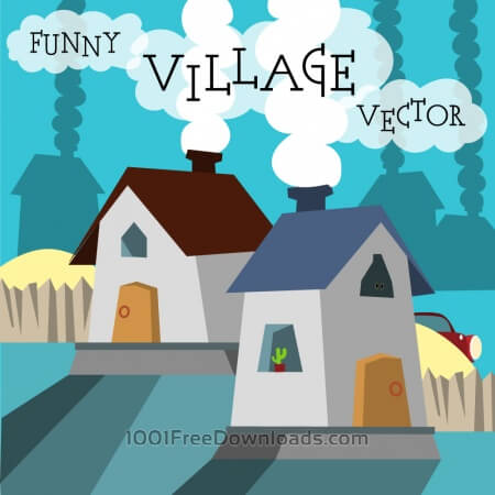 Free Funny vector night village illustration. Free for vector design