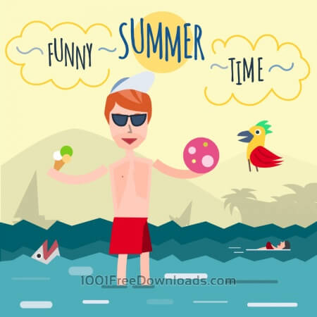 Funny young man in sea. It's holiday time. Some object is ice-cream and ball. Free for vector design
