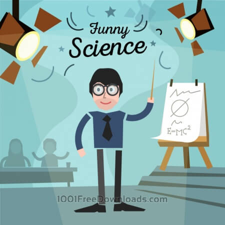Free Scientist in a glass and some audience with chart. Free for vector design