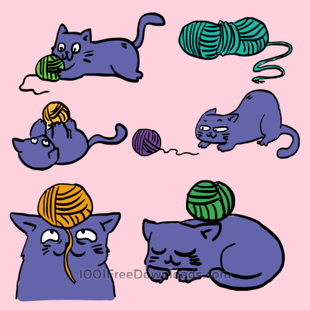 Free Cat playing with ball of yarn