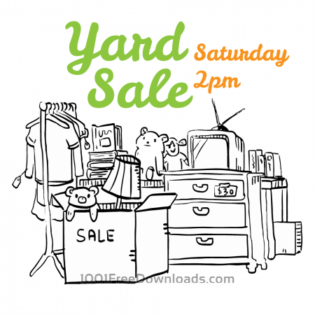 Free Yard sale black and white flyer illustration