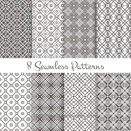 Free Black and white geometrical patterns set